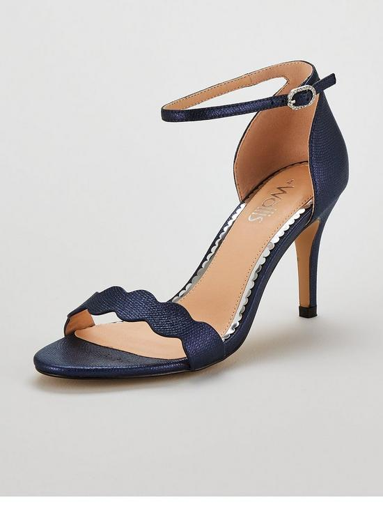 24b3ee967bfc Wallis Scalloped Barely There Heeled Sandal Shoes - Navy