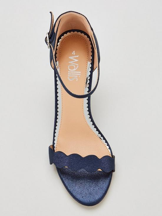 41ae087e99bf ... Wallis Scalloped Barely There Heeled Sandal Shoes - Navy. View larger