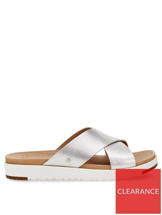 24069344a91 Kari Metallic Cross Sandals - Silver