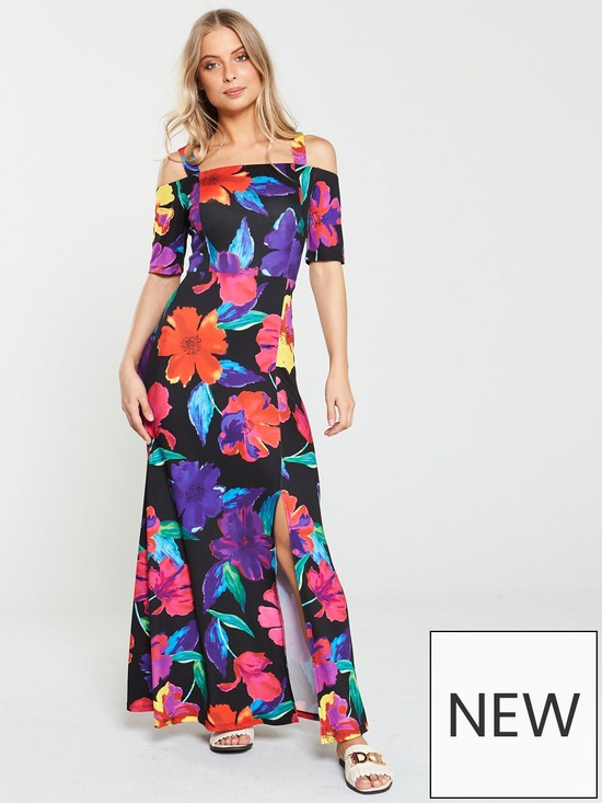442fe2d081 V by Very Cold Shoulder Maxi Dress - Floral Print | very.co.uk