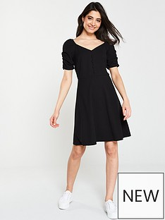 e6eb11ca5227 V by Very Button Through Jersey Skater Dress - Black