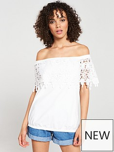 8a38a7ee054386 V by Very Scallop Lace Bardot Top - Ivory