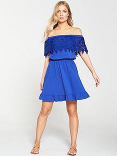 v-by-very-scallop-lace-bardot-dress-cobalt-blue