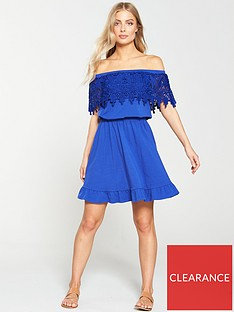 v-by-very-scallop-lace-bardot-dress-cobalt-blue