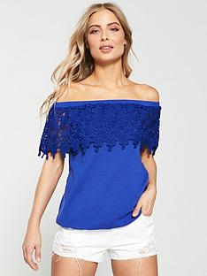 cc0051250bf9dc V by Very Scallop Lace Bardot Top - Cobalt Blue