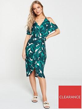 v-by-very-wrap-ity-cold-shoulder-jersey-dress-palm-print