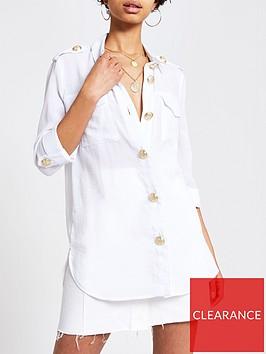 river-island-river-island-gold-button-detail-blouse-white