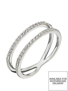 the-love-silver-collection-sterling-silver-cubic-zirconia-double-band-ring
