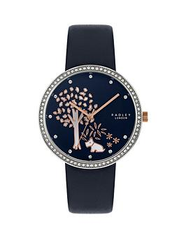 radley-radley-gold-tree-crystal-set-bavy-dial-navy-leather-strap-ladies-watch