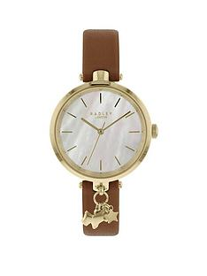 radley-radley-mother-of-pearl-and-gold-dog-charm-dial-brown-leather-slim-strap-ladies-watch