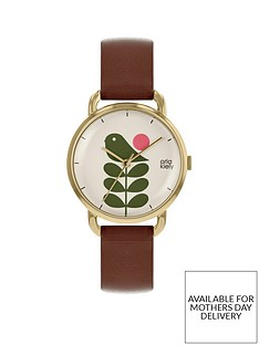 orla-kiely-green-stem-and-gold-detail-dial-brown-leather-strap-ladies-watch
