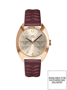 orla-kiely-champagne-and-rose-gold-detail-dial-plum-leather-strap-ladies-watch