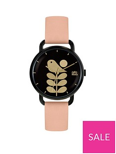 orla-kiely-black-and-gold-bird-and-stem-dial-pink-leather-strap-ladies-watch