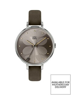 orla-kiely-grey-sunray-stem-detail-dial-grey-leather-slim-strap-ladies-watch