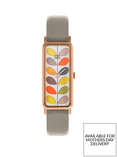orla-kiely-colourful-stem-print-rectangular-dial-grey-leather-strap-ladies-watch