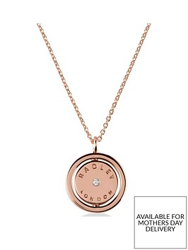 radley-18k-rose-gold-plated-sterling-silver-spinner-pendant-ladies-necklace