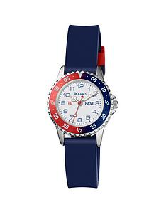 tikkers-tikkers-red-white-and-blue-dial-blue-silicone-strap-kids-watch