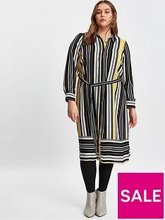evans-stripe-shirt-dress-black-and-yellow