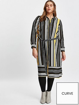 evans-stripe-shirt-dress-black-and-yellow