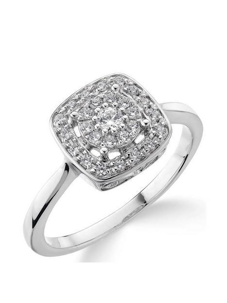 love-diamond-9ct-white-gold-20-point-diamond-square-set-cluster-ring