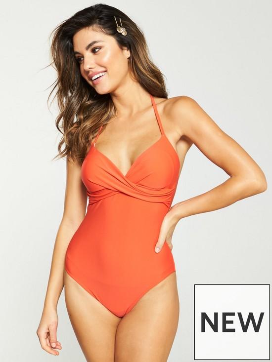 68814c8dd4 V by Very Essentials Crossover Swimsuit - Dark Orange | very.co.uk