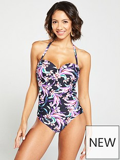 367d2af28b V by Very Shapewear Underwired Tankini Top - Black/Floral
