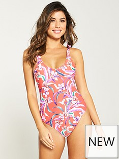 bb00f6676c2d V by Very Tie Shoulder Scoop Back Swimsuit - Red Floral