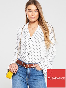 v-by-very-fluted-sleeve-blouse-ivory-print