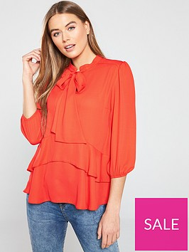v-by-very-longline-pussybow-blouse-orange