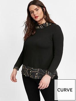 evans-2-in-1-chain-print-top-black