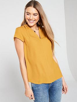 v-by-very-notch-neck-short-sleeve-top-mustard