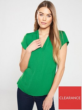 v-by-very-notch-neck-short-sleeve-top-green