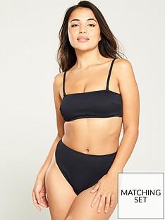 v-by-very-bandeau-rib-textured-bikini-top-black