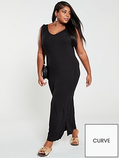 v-by-very-curve-split-jersey-maxi-dress-black