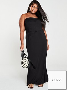 89935f612 V by Very Curve Jersey Bandeau Maxi Dress - Black