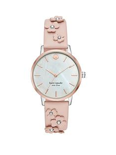 kate-spade-new-york-kate-spade-mother-of-pearl-and-rose-gold-detail-dial-nude-floral-applique-strap-ladies-watch