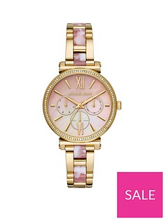 e51deeb00 MICHAEL KORS Michael Kors Sofie Pink Mother of Pearl Multi Dial Gold  Stainless Steel and Pink Cloud Centre Link Bracelet Ladies Watch