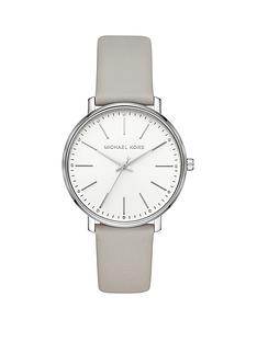 04607c7609e MICHAEL KORS Michael Kors Pyper Silver Dial Grey Leather Strap Ladies Watch