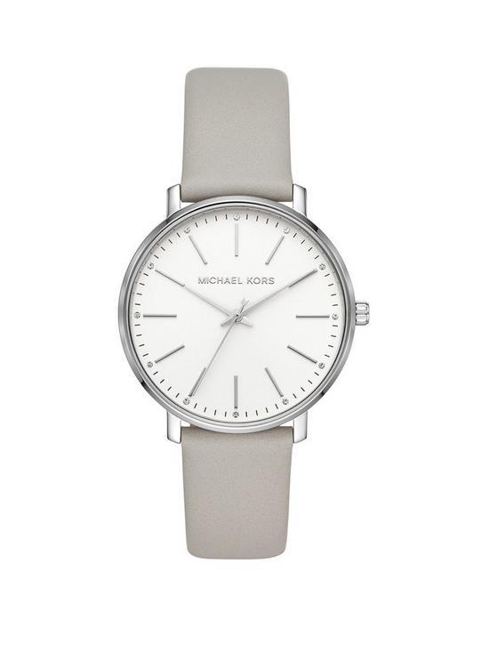 65c6da13a4f4 MICHAEL KORS Michael Kors Pyper Silver Dial Grey Leather Strap Ladies Watch