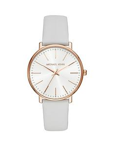 7bf1090a5a5f MICHAEL KORS Michael Kors Silver and Rose Gold Detail White Leather Strap  Ladies Watch