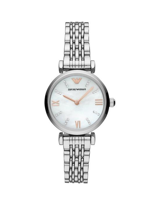 00c46ba37786 Emporio Armani Emporio Armani Gianni T-Bar Mother of Pearl and Rose Gold  Detail Dial Stainless Steel Bracelet Ladies Watch