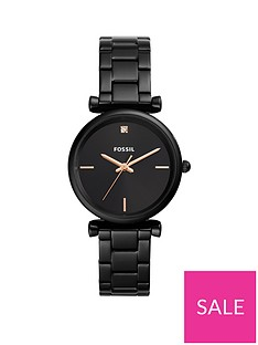 fossil-fossil-carlie-black-sunray-rose-gold-and-diamond-dial-black-stainless-steel-bracelet-ladies-watch