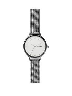 skagen-skagen-white-dial-gunmetal-and-silver-two-tone-stainless-steel-bracelet-ladies-watch