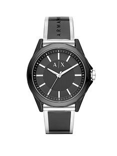 769138bfe74 Armani Exchange Armani Exchange Drexler Black and Silver Dial Black and  Clear PU Strap Mens Watch