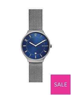 skagen-skagen-blue-sunray-dial-gunmetal-stainless-steel-mesh-strap-mens-watch