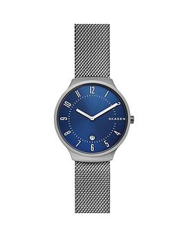 skagen-skagen-blue-sunray-dial-gunmetal-stainless-steel-mesh-strap-mens-watch