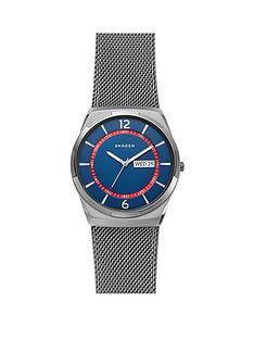 skagen-skagen-melbye-blue-and-red-detail-daydate-dial-gunmetal-stainless-steel-mesh-strap-mens-watch