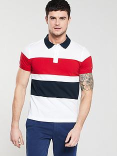 aefbbd2eb24 Tommy Hilfiger Large Chest Stripe Slim Polo Shirt - White/Navy/Red