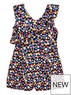 cbedc3a3ef1a V by Very Girls Floral Print Ruffle Playsuit - Multi