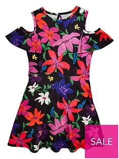 3ade7c23e V by Very Girls Floral Print Cold Shoulder Dress - Multi